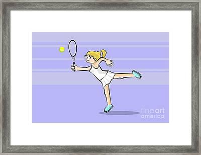 Blonde Girl Playing Tennis Framed Print