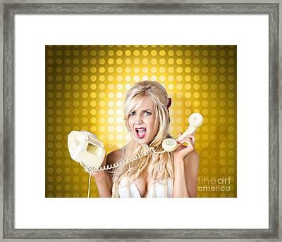 Blonde Girl Tangled In A Funny Phone Communication Framed Print