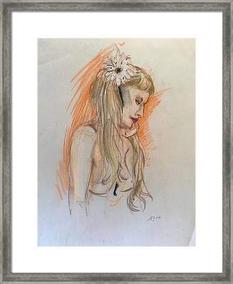 Blonde With White Flower Framed Print by Alejandro Lopez-Tasso