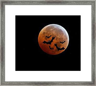 Blood Full Moon And Bats Framed Print by Marianna Mills