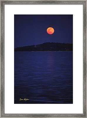 Blood Moon - Black Point - Lake Geneva Wisconsin Framed Print by Bruce Thompson