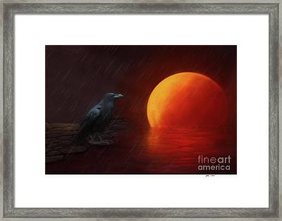 Blood Moon Crow Framed Print