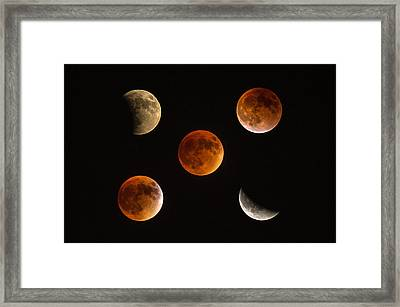 Blood Moon Eclipse Compilation Framed Print