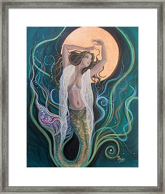 Blood Moon Goddess  Framed Print by Angel Fritz