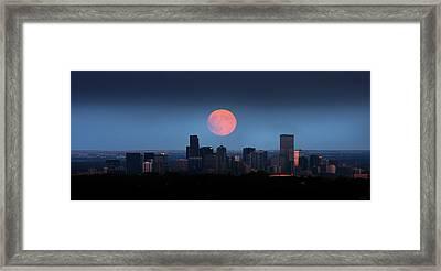 Blood Moon Over Denver Framed Print by Brian Gustafson