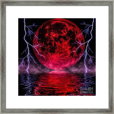 Blood Moon Over Mist Lake Framed Print by Naomi Burgess