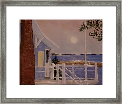 Blood Moon Over Muscongus Sound Framed Print