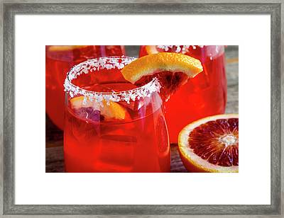 Framed Print featuring the photograph Blood Orange Margaritas On The Rocks by Teri Virbickis