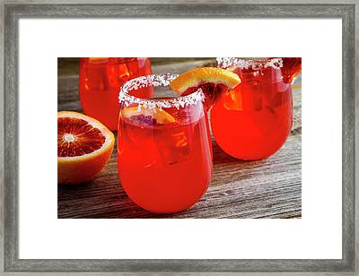 Framed Print featuring the photograph Blood Orange Margaritas by Teri Virbickis