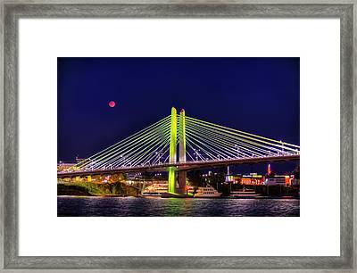 Blood Red Moon Over Tilikum Crossing Framed Print