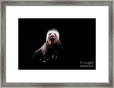 Bloody Girl Screaming Framed Print by Aleksey Tugolukov