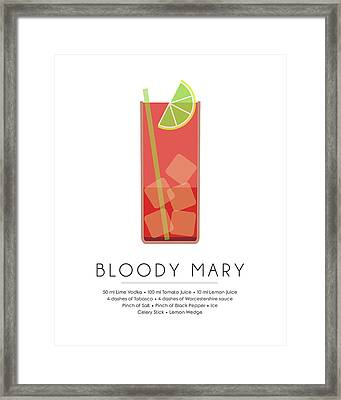 Bloody Mary Classic Cocktail - Minimalist Print Framed Print