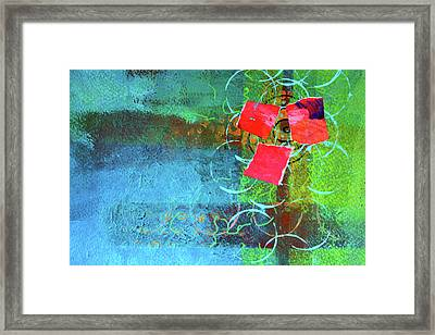 Framed Print featuring the mixed media Bloom Abstract Collage by Nancy Merkle