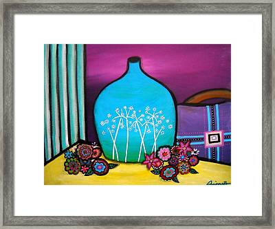 Framed Print featuring the painting Bloom And Vase by Pristine Cartera Turkus