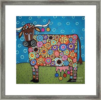 Blooming Cow Framed Print by Karla Gerard