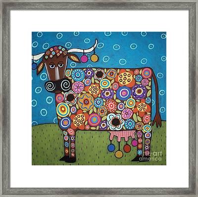 Blooming Cow Framed Print by Karla Gerard
