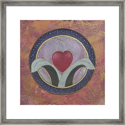 Blooming Heart Mandala Framed Print by Jo Thompson