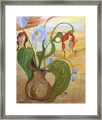 Blooming Orchids In The Vase Framed Print by Mila Ryk