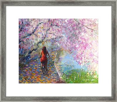 Blossom Alley Impressionistic Painting Framed Print by Svetlana Novikova