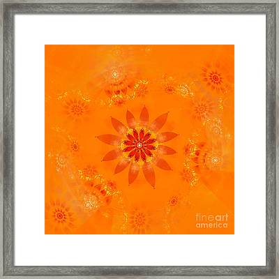 Framed Print featuring the digital art Blossom In Orange by Richard Ortolano