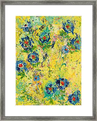 Framed Print featuring the painting Blossoming Blue by Chris Rice