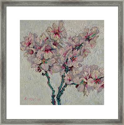 Blossoming Peaches Branch Framed Print by Vitali Komarov