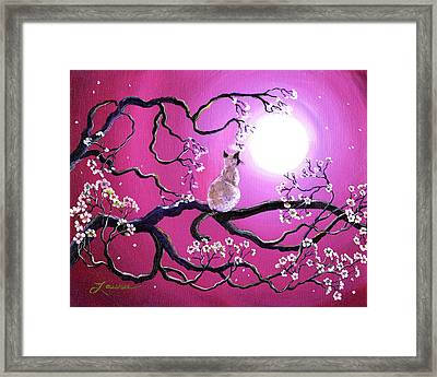Blossoms In Fuchsia Moonlight Framed Print