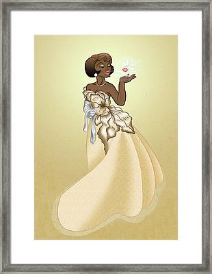 Blow A Kiss- Gold Version Framed Print by Rachel Marquez