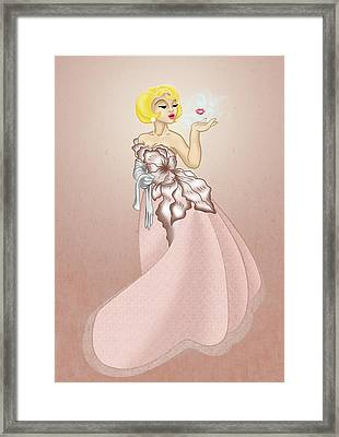 Blow A Kiss- Pink Version Framed Print by Rachel Marquez