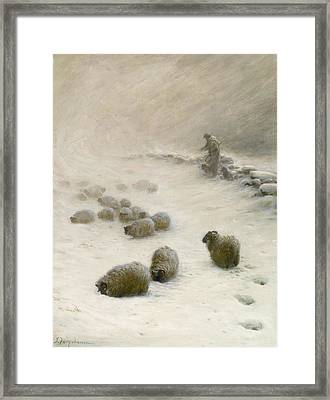 Blow Blow Thou Wintery Wind Framed Print by Joseph Farquharson