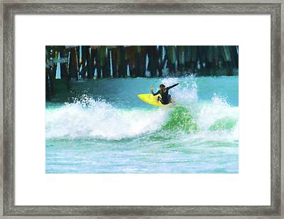 Blow Through It Dreadlocks Surfer Watercolor Framed Print