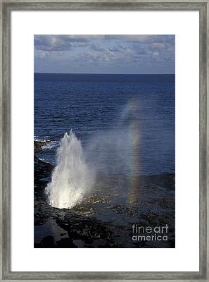 Blowhole At Poipu Framed Print by Stan and Anne Foster