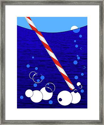 Blowing Bubbles In The Sea - Pop Art Framed Print by Rayanda Arts