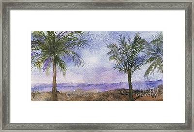 Framed Print featuring the painting Blowing By The Ocean by Vicki  Housel