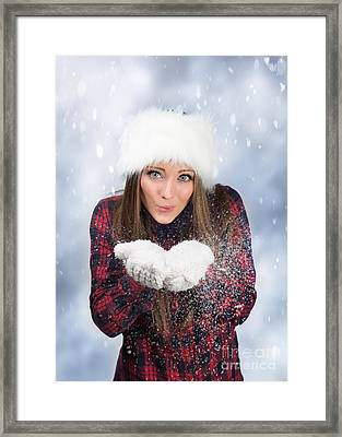 Blowing Snow In Winter Framed Print by Amanda Elwell