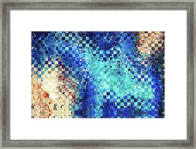 Blue Abstract Art - Pieces 2 - Sharon Cummings Framed Print