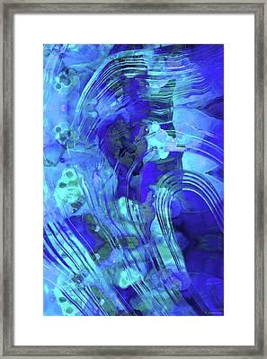 Blue Abstract Art - Reflections - Sharon Cummings Framed Print