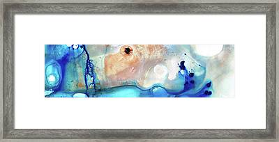 Blue Abstract Art - The Long Wave - Sharon Cummings Framed Print