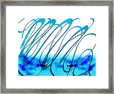 Blue Abstract  Blue Fish Framed Print