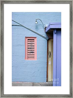blue abstract building photography - The Blue Wall Framed Print