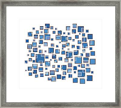 Blue Abstract Rectangles Framed Print