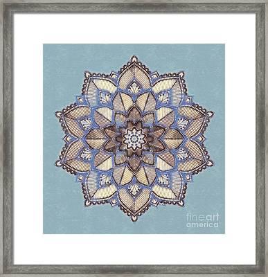 Blue And White Mandala Framed Print