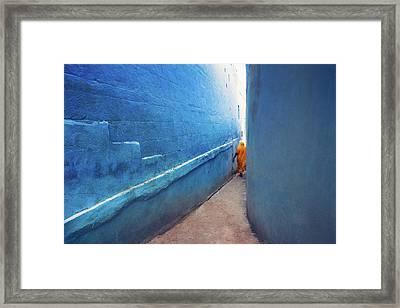 Blue Alleyway Framed Print by Marji Lang