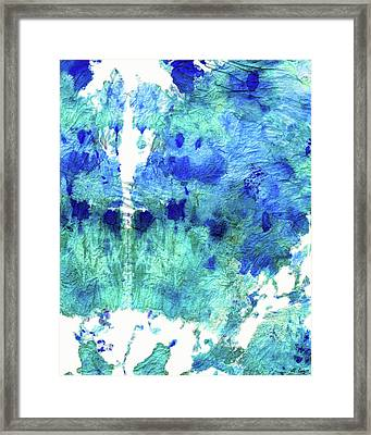 Blue And Aqua Abstract - Wishing Well - Sharon Cummings Framed Print by Sharon Cummings