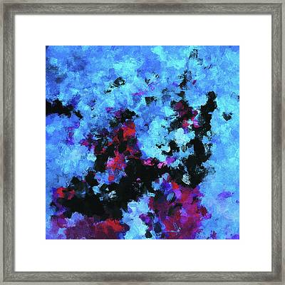Framed Print featuring the painting Blue And Black Abstract Wall Art by Ayse Deniz