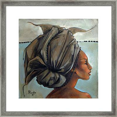 Blue And Black Bead Headdress Framed Print