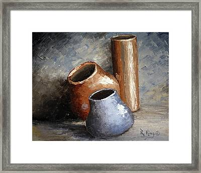 Blue And Brown Pots Framed Print