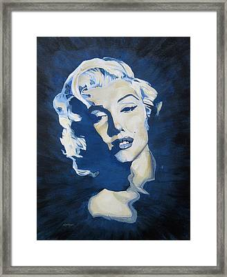Blue And Gold Marilyn Framed Print
