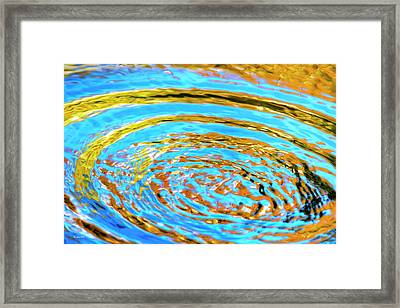 Blue And Gold Spiral Abstract Framed Print by Christina Rollo