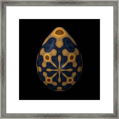 Blue And Golden Ornamental Egg Framed Print by Hakon Soreide